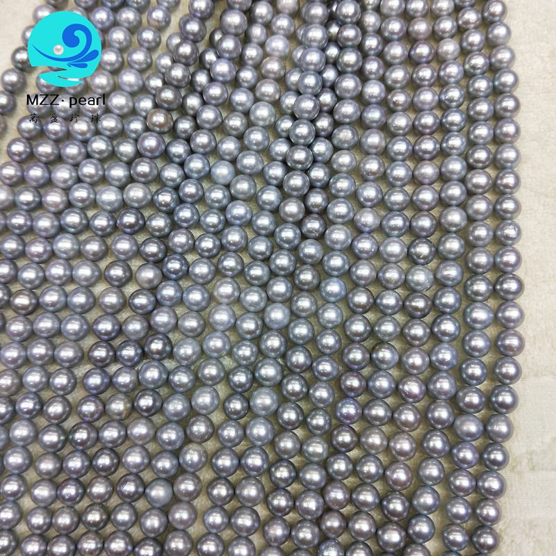Lustrous grey freshwater pearl necklace