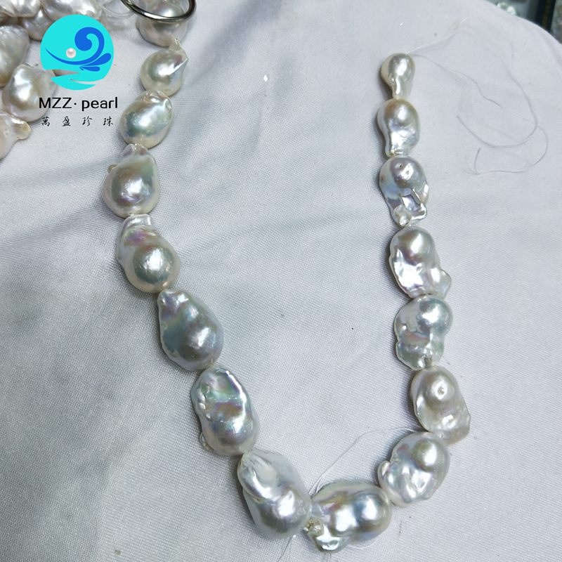 high quality White Real Freshwater Pearl Beads Strand 15mm  Baroque Pearl Loose Pearl Strands for Women Necklace