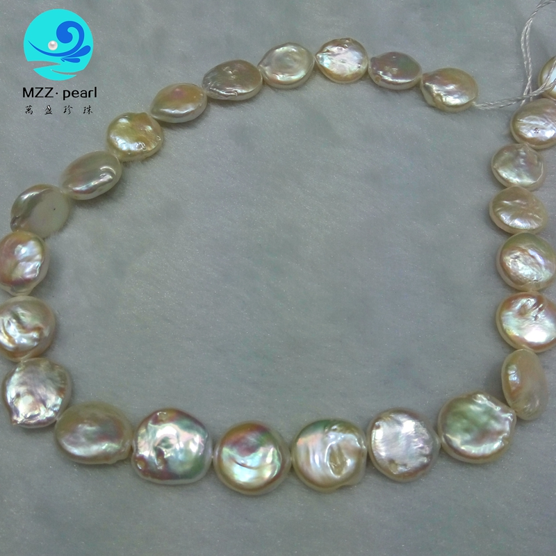 13-15mm large size good quality coin shape freshwater cultured pearl strings 16 inch for your to make your own designs
