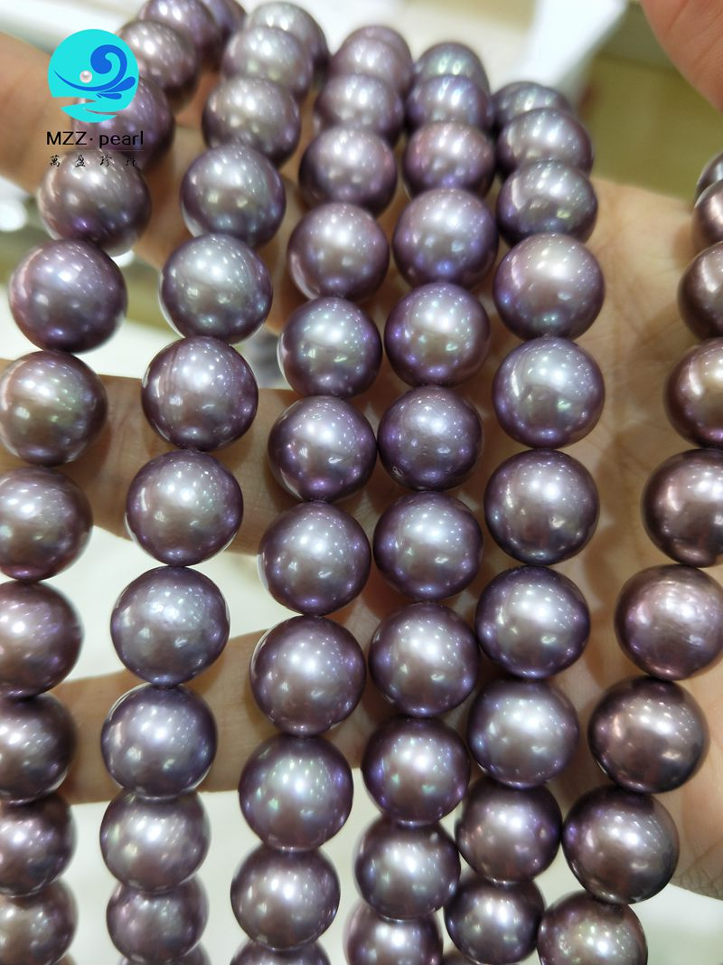 deep purple freshwater round nucleated pearl strands