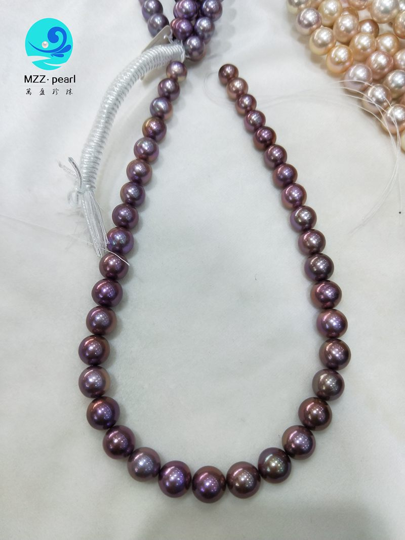deep purple freshwater round nucleated pearl strings