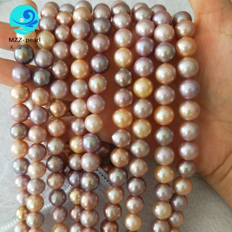 Women Pearl Jewelry Design 9-10mm multicolor nucleated edison round pearl fine pearl jewelry for women decoration