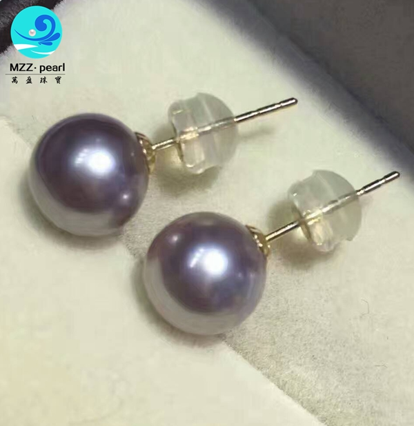 Purple Color Freshwater Pearl Earrings Studs 9 10mm Size With 18k Yellow Gold
