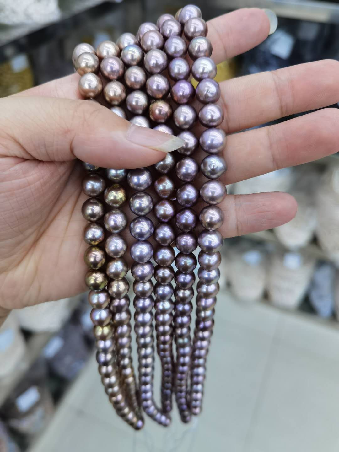 large purple edison pearl strands