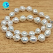 12x15mm strong luster freshwater cultured edison pearl necklace sterling silver