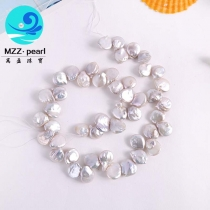 12mm white baroque coin shape cultured freshwater pearl strands for wholesale at factory direct price