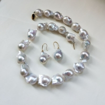 nucleated baroque  pearl set