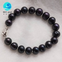9-10mm potato round black freshwater pearl bracelet 19cm