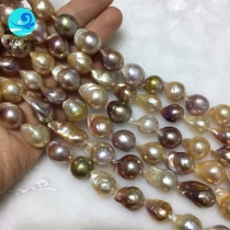 Lustrous 11-13mm Edison Pearls loose strands, mixed color beautiful luster Real Freshwater Baroque Pearl loose beaded strands for Statement necklace