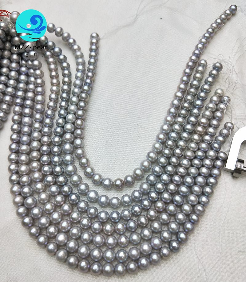 "Genuine 9-10mm Gray Freshwater Pearl Baroque Shape Loose Beads Strand 15/"" AAA"